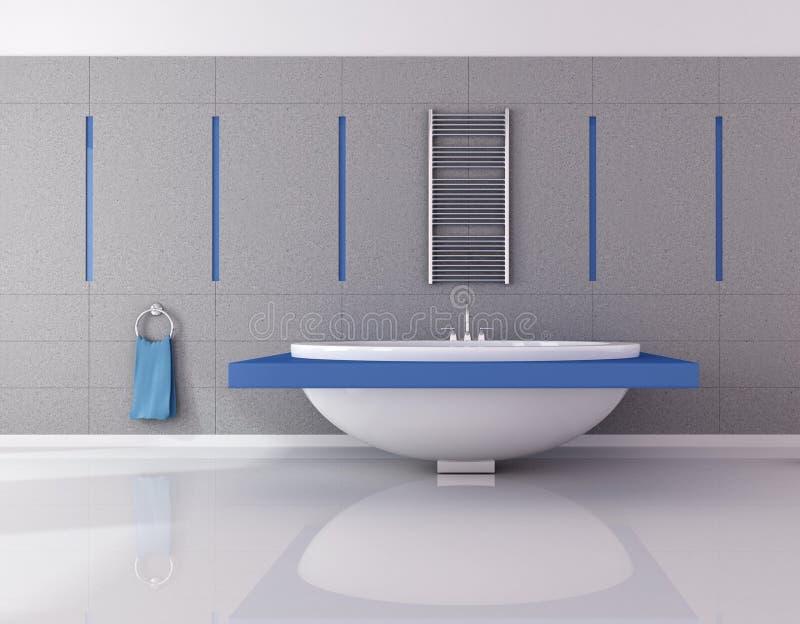 Blaues und des Graus wesentliches Badezimmer lizenzfreie abbildung