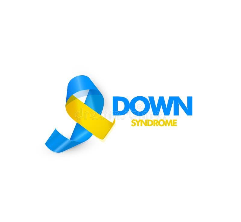 Blaues und gelbes Band mit Text für Welt-Down-Syndrom Tagesvektorillustration lizenzfreie abbildung
