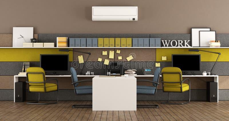 Blaues und gelbes modernes Büro stock abbildung
