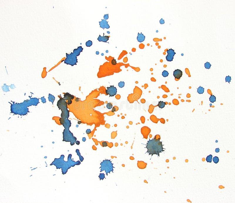 Blaues und orange Aquarellhintergrundspritzen vektor abbildung