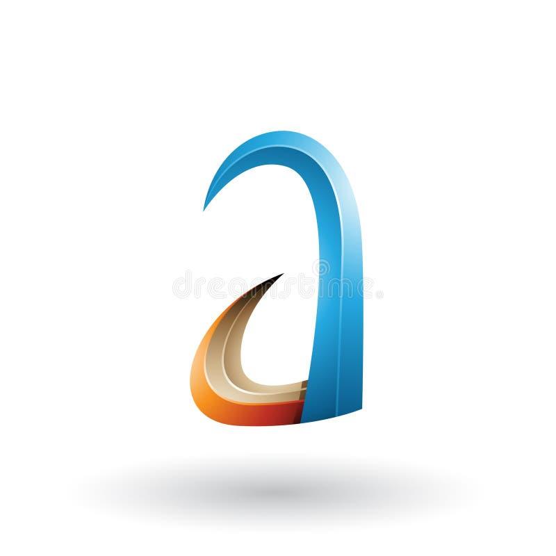 Blaues und orange Horn 3d wie Buchstabe A lokalisiert auf einem weißen Hintergrund lizenzfreie abbildung
