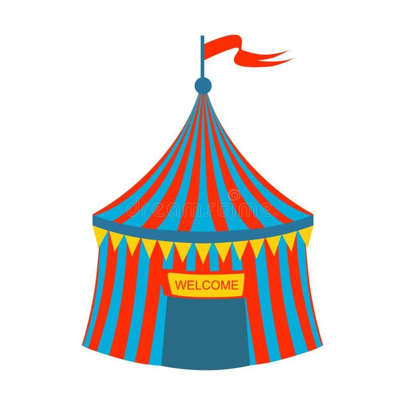 Blaues und rotes gestreiftes Zirkus-Zelt, Teil des Vergnügungsparks und angemessene Reihe flache Karikatur-Illustrationen stock abbildung