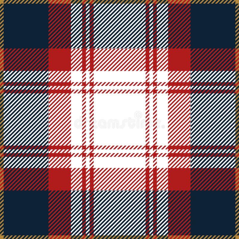 Blaues und rotes Schottenstoff-Plaid-nahtloses schottisches Muster vektor abbildung