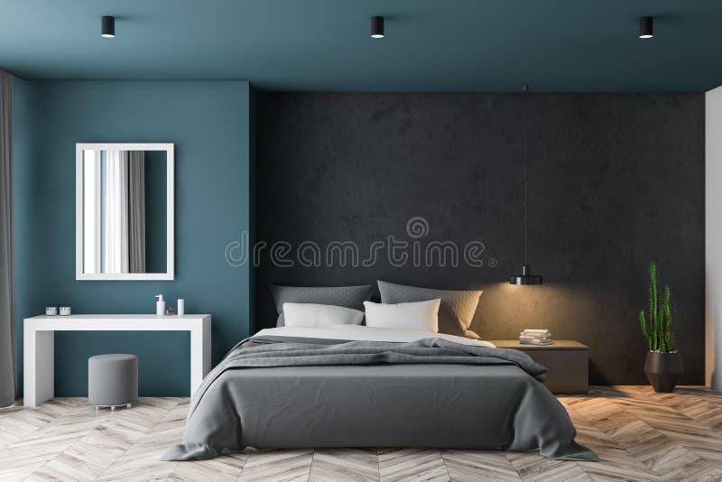 Blaues und schwarzes Schlafzimmer mit Make-uptabelle vektor abbildung