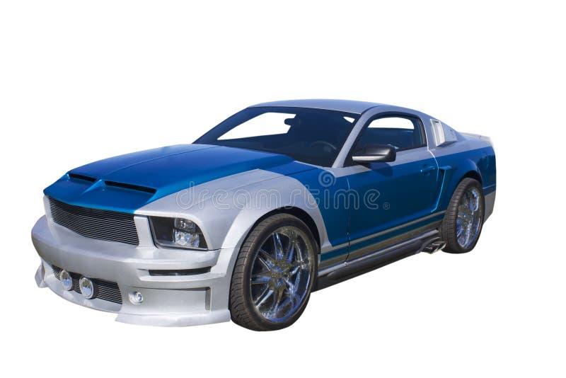 Blaues und silbernes Muskelauto stockfoto
