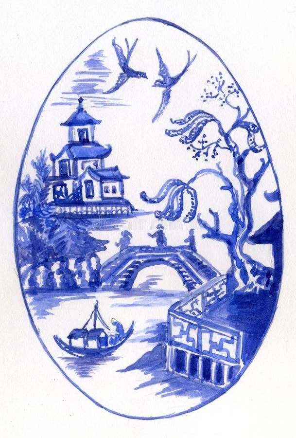 Blaues und weißes Ei vektor abbildung