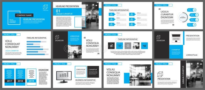 Blaues und weißes Element für das Dia infographic auf Hintergrund pres vektor abbildung