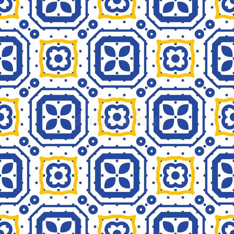 Blaues und weißes nahtloses Keramikziegelmittelmeermuster vektor abbildung