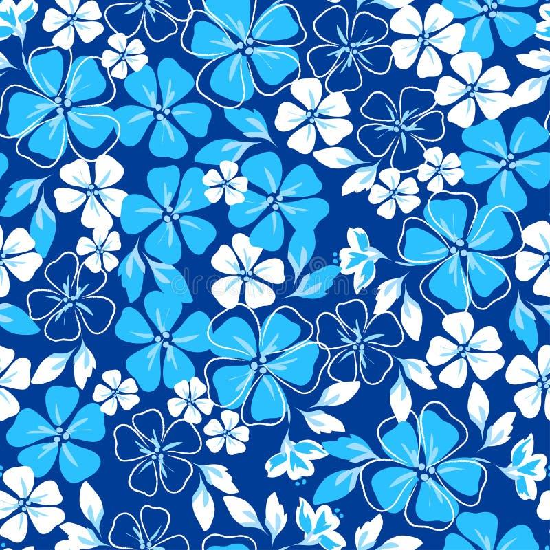 Blaues und weißes nahtloses mit Blumenmuster lizenzfreie abbildung