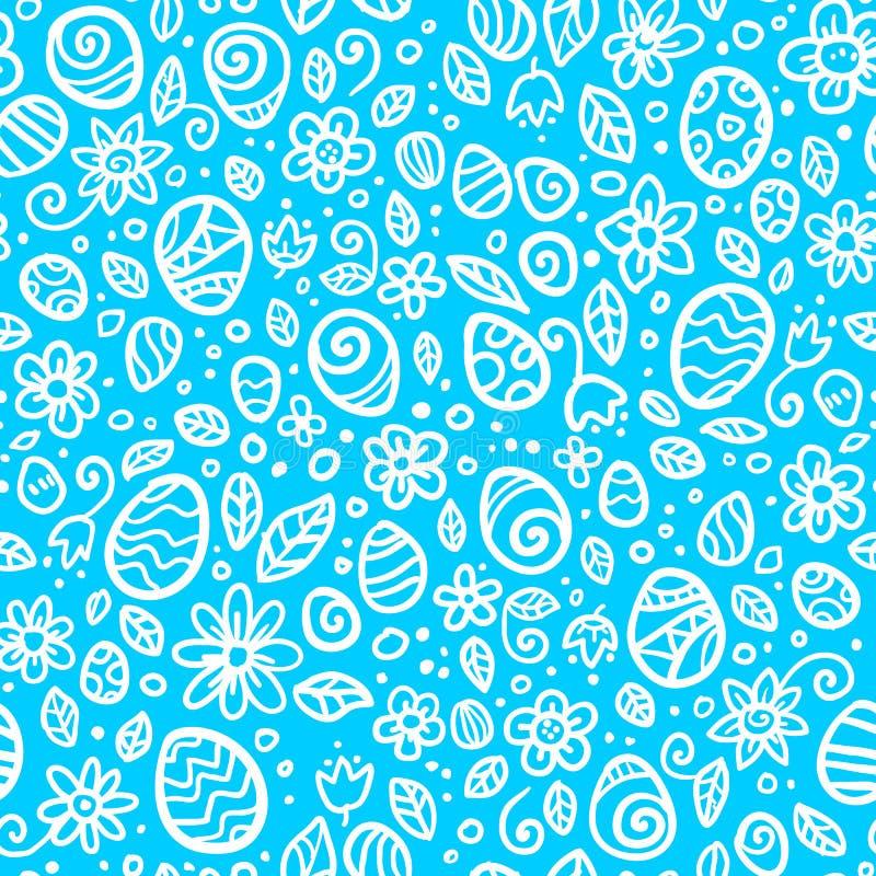 Blaues und weißes nahtloses Muster Ostereier stock abbildung