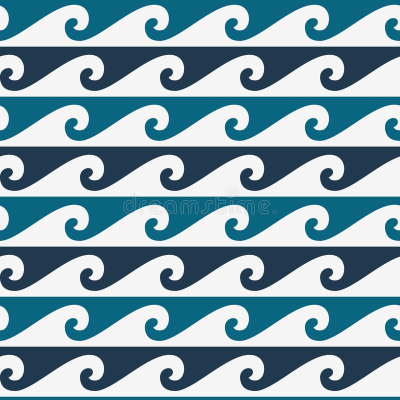 Blaues und weißes nahtloses Wellenmuster, Linie Wellenverzierung in der Maori- Tätowierungsart lizenzfreie abbildung
