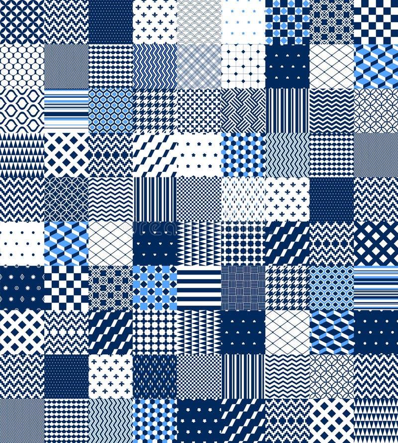 Blaues und weißes Patchwork gestepptes geometrisches nahtloses Muster, Vektorsatz vektor abbildung