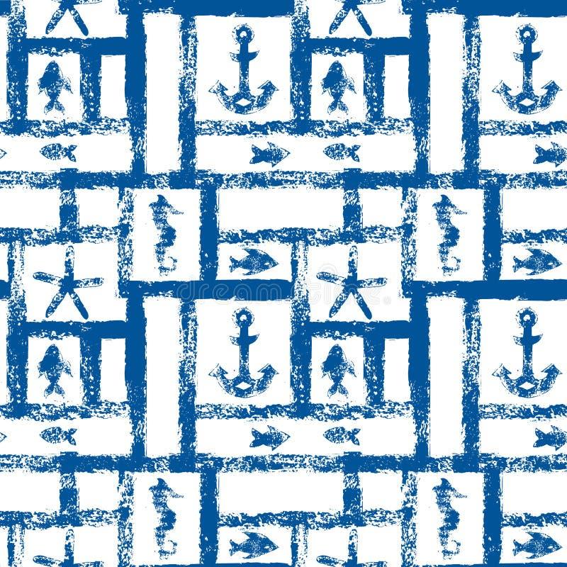 Blaues und weißes Schmutznautischgitter mit Anker, Stern und Fischen, nahtloses Muster, Vektor stock abbildung