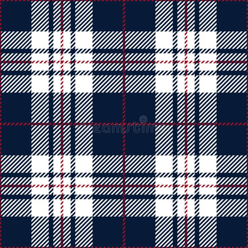 Blaues und weißes Schottenstoff-Plaid-traditionelles schottisches Textilmuster vektor abbildung