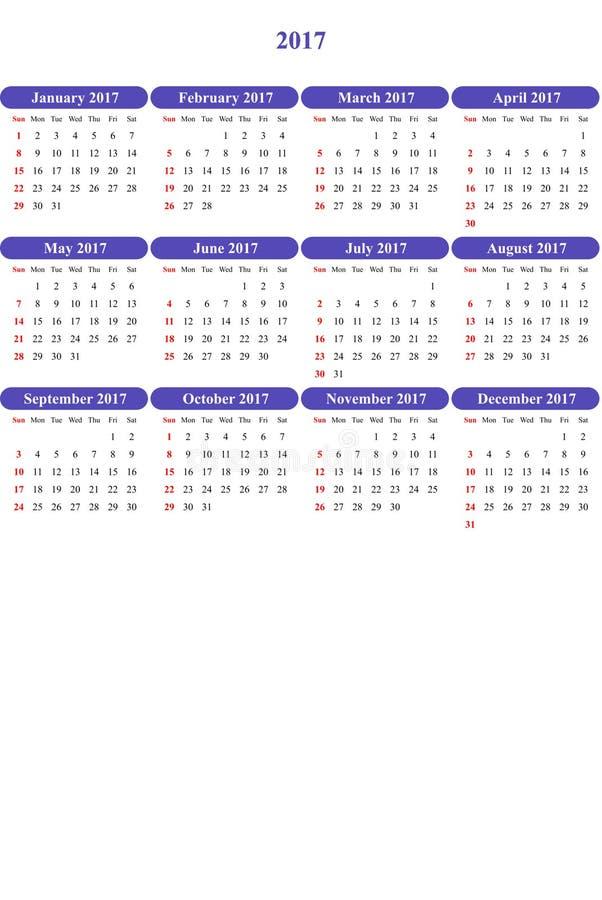 Blaues Veilchen färbte klar farbigen einfachen Kalender 2016 stock abbildung