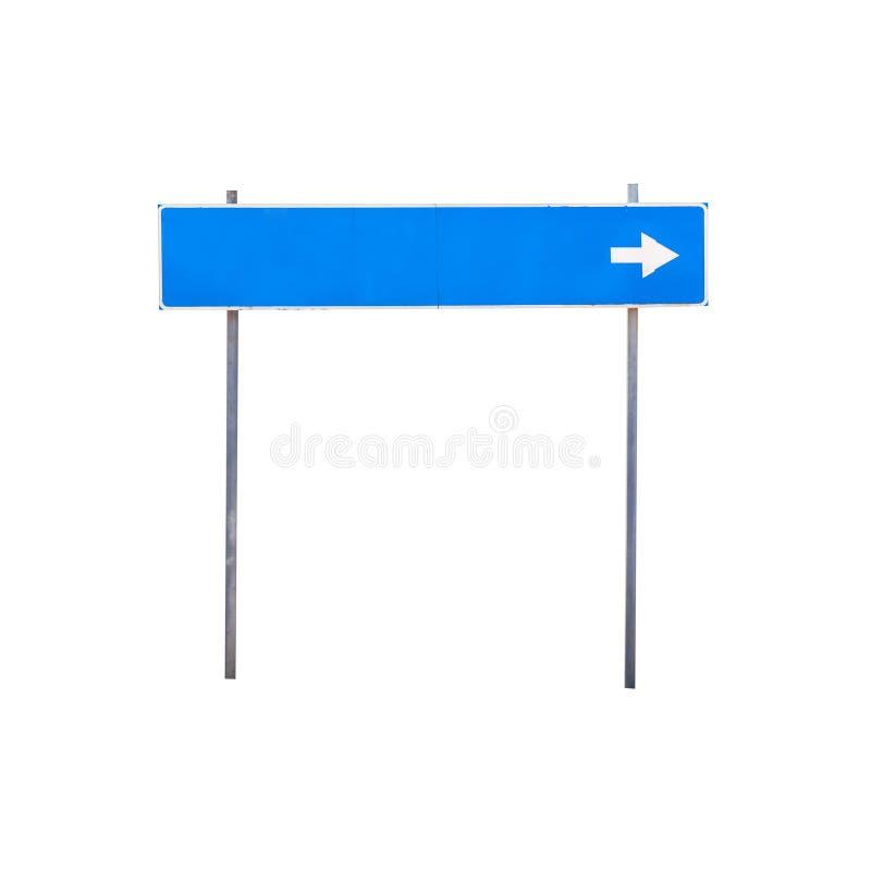 Blaues Verkehrsschild mit leerem Platz für Bestimmungsortnamen lizenzfreie stockbilder
