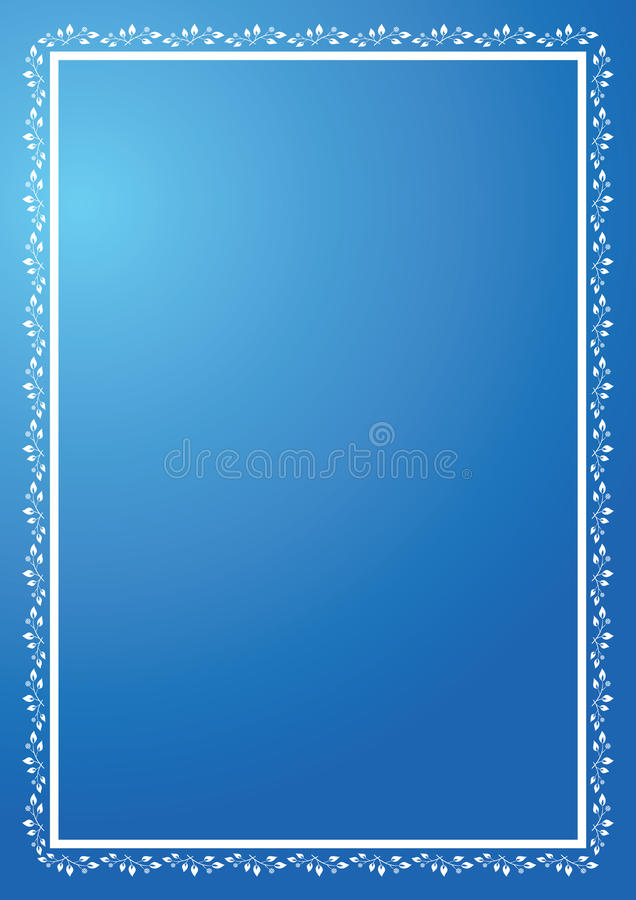 blaues vertikales Feld mit Verzierung stock abbildung