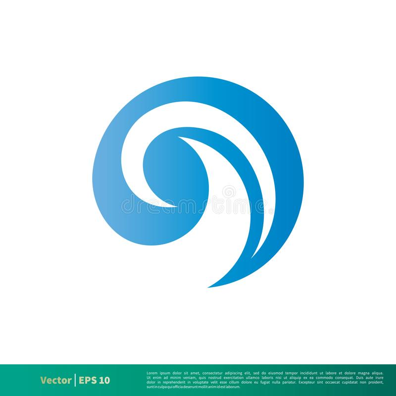 Blaues Wasser-Strudel-Wellen-Ikonen-Vektor Logo Template Illustration Design Vektor ENV 10 lizenzfreie abbildung