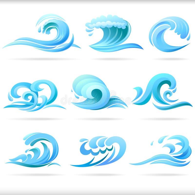 Blaues Wasser-Wellen vektor abbildung