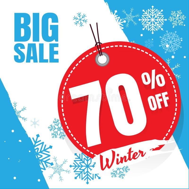 Blaues Weiß der Winterschlussverkauffahne Plakatdesign eingestellt mit Verkaufstext stock abbildung