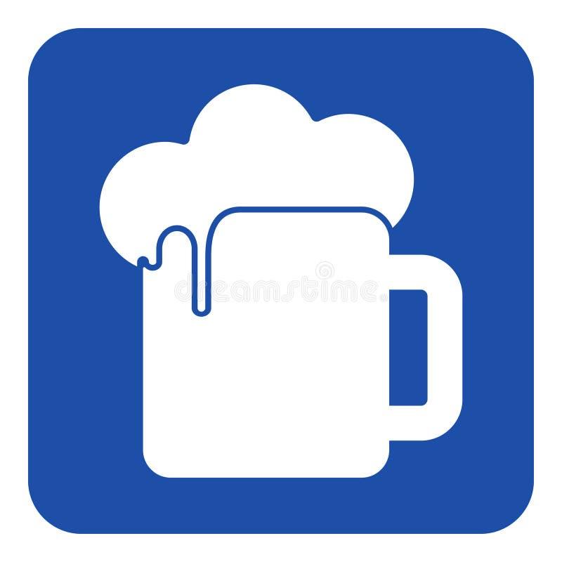 Blaues, weißes Hinweiszeichen - Bier mit Schaumikone stock abbildung