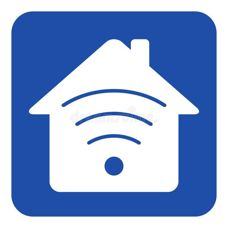 Blaues, weißes Hinweiszeichen - Haus mit Signal lizenzfreie abbildung