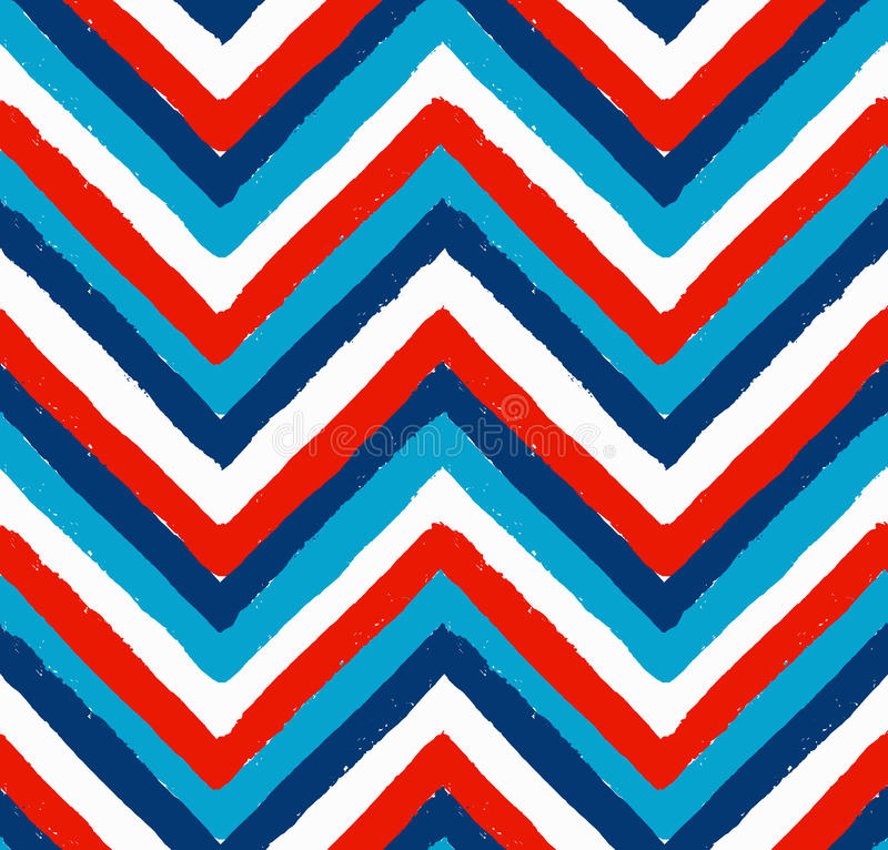 Blaues weißes Rot gemaltes Chevron-Muster stock abbildung
