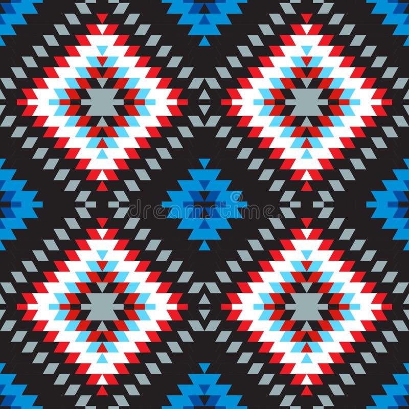 Blaues weißes rotes Grau des nahtlosen türkischen Teppich-Rosas des Musters Bunte Patchworkmosaikorientale-kilim Wolldecke mit tr vektor abbildung