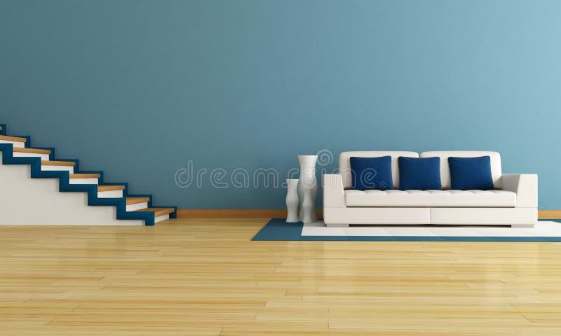 Blaues wohnzimmer stock abbildung illustration von couch 17953103 - Blaues wohnzimmer ...