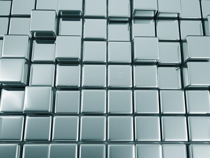 Blauhintergrund illustrtion 3d Zusammenfassung geometrischer Metall lizenzfreie abbildung