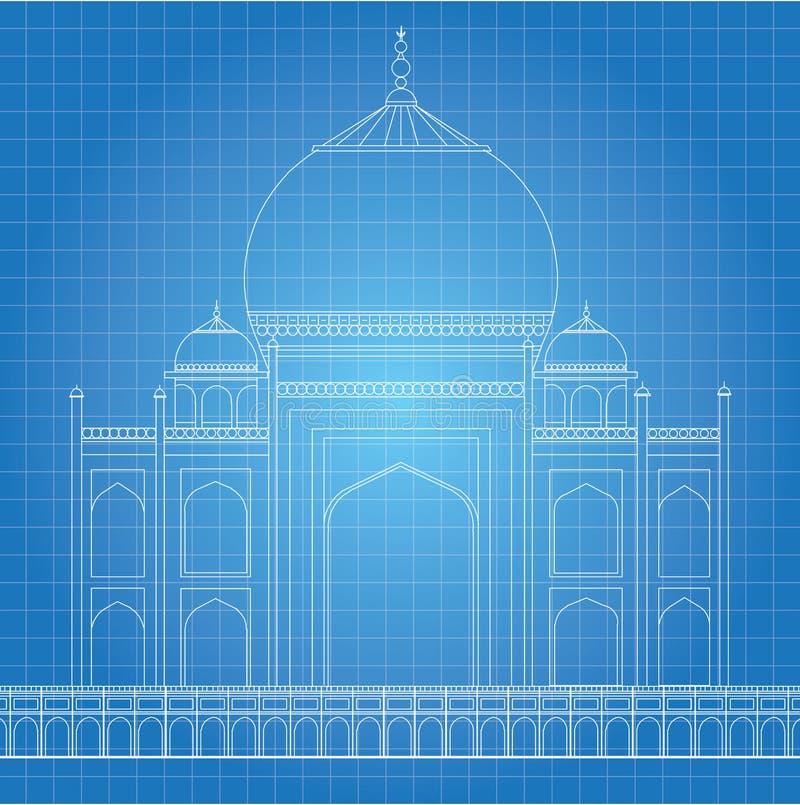 Blaupause Taj Mahal stock abbildung. Illustration von aufgebaut ...