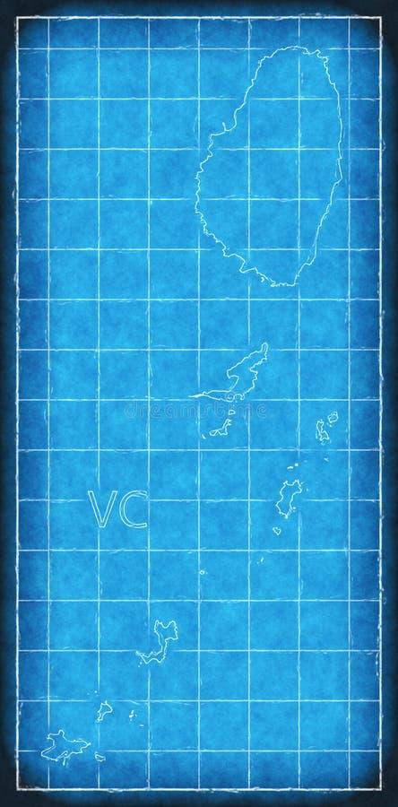 Blaupausenillustration St. Vincent und die Grenadinen Karte vektor abbildung