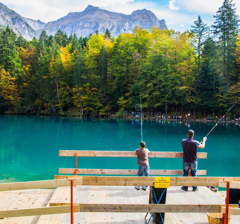 Blausee, Switerland - pesca da truta imagem de stock