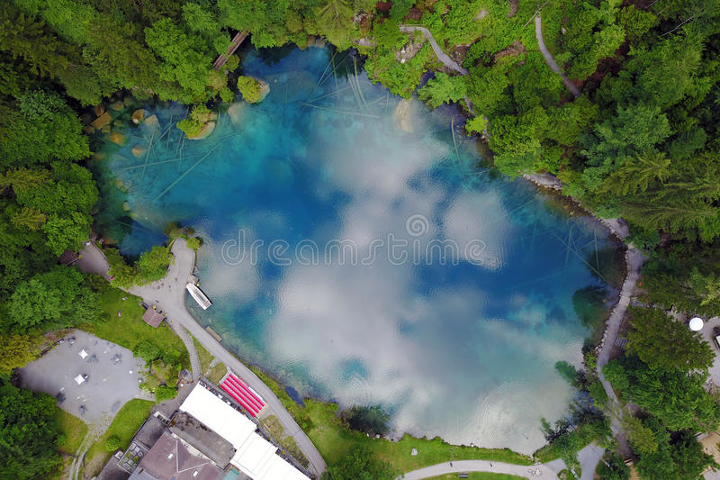 Blausee, Switzerland - Aerial royalty free stock photography