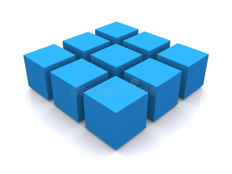 Blauw 3d kubusvierkant stock illustratie