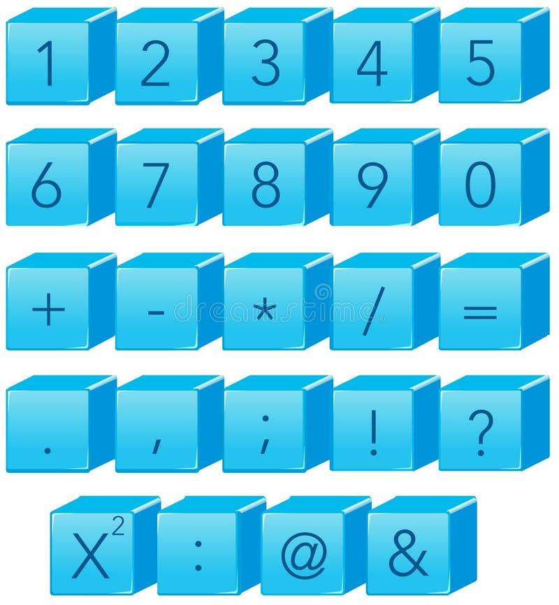 Blauw aantal en wiskundesymbool stock illustratie