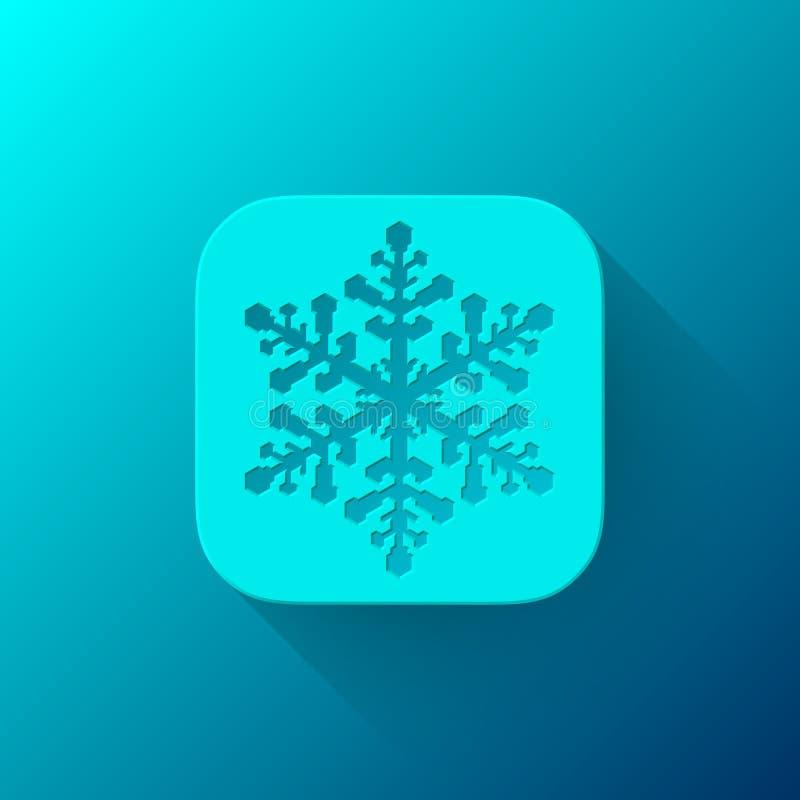 Blauw Abstract App Pictogrammalplaatje met Sneeuwvlok vector illustratie