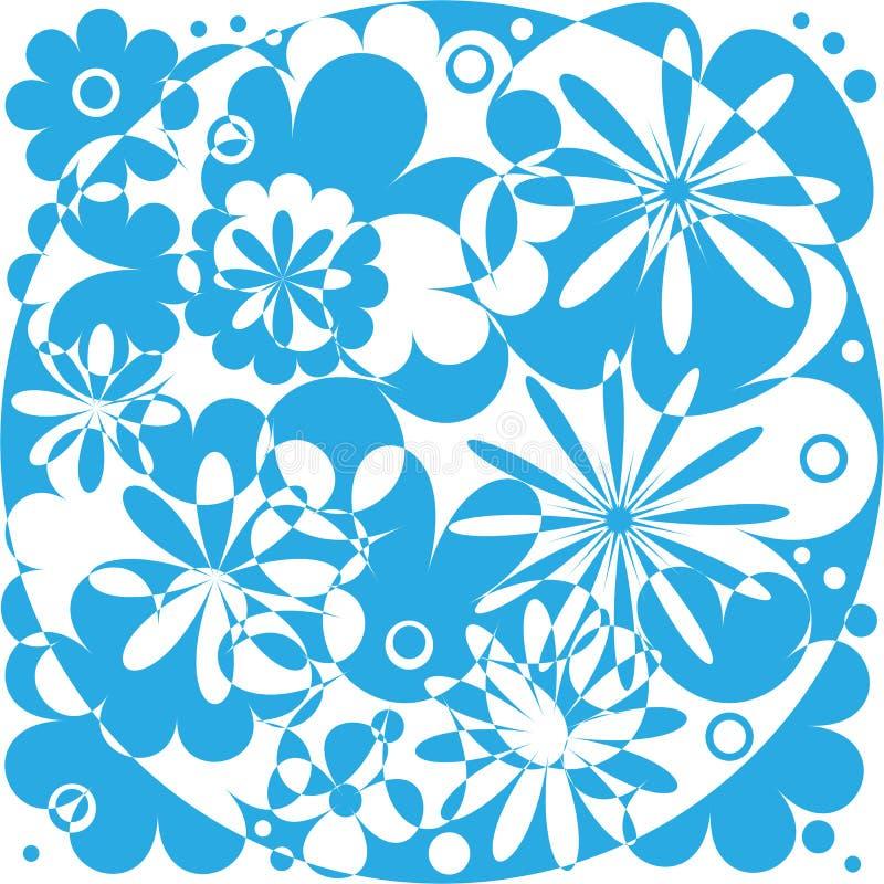 Blauw abstract flowersWhite blauw abstract bloemenpatroon Abstracte bloemenachtergrond vector illustratie