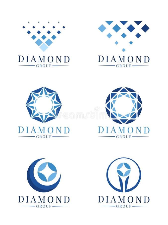 Blauw abstract modern het teken vector vastgesteld ontwerp van het diamantembleem stock illustratie