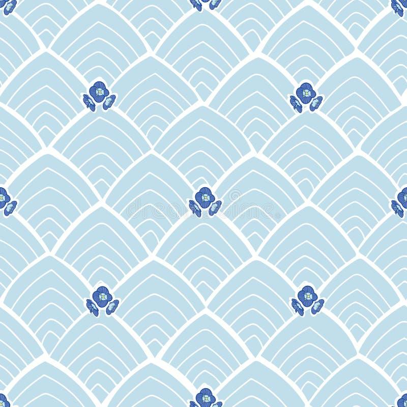 Blauw abstract patroon met bloemen royalty-vrije illustratie