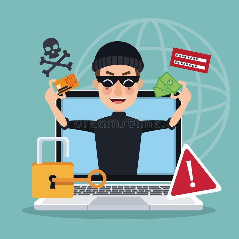 Blauw achtergrond globaal wereldsilhouet met laptop en dief stealing aanval van de mensenhakker stock illustratie