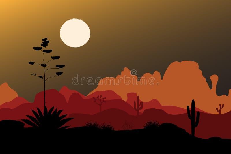 Blauw agavesilhouet in nachtwoestijn Bergenachtergrond Vector illustratie royalty-vrije illustratie