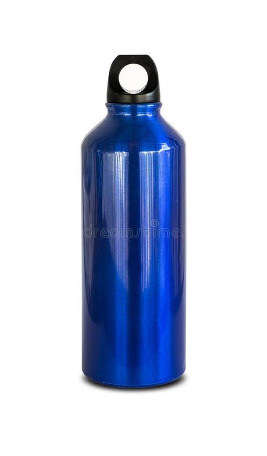Blauw aluminium flesje water royalty-vrije stock afbeeldingen