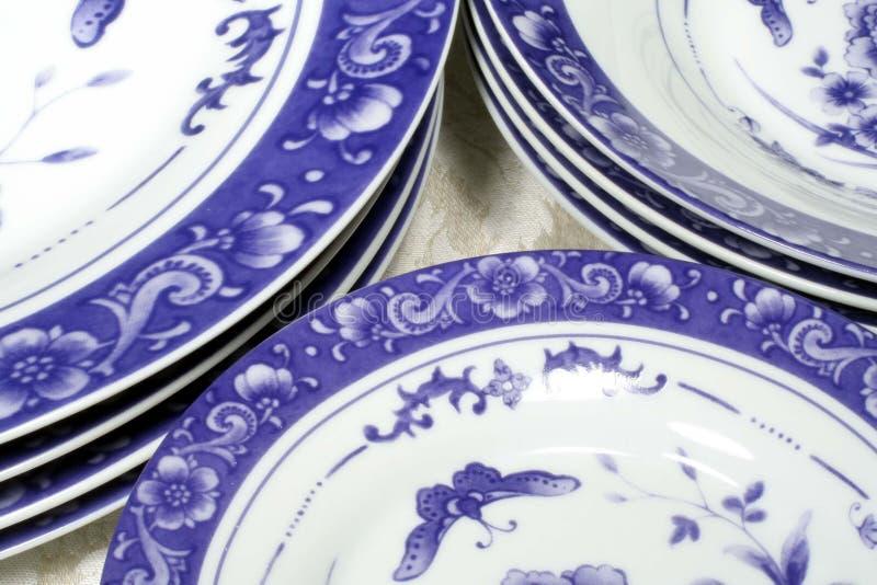 Blauw & Wit Vaatwerk stock foto's