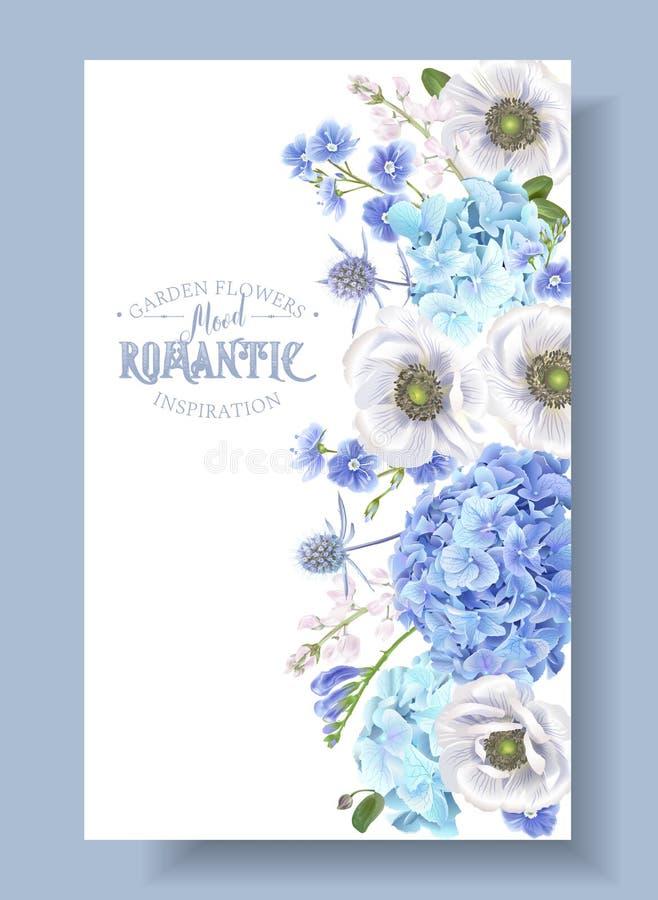 Blauw anemoonkader stock illustratie