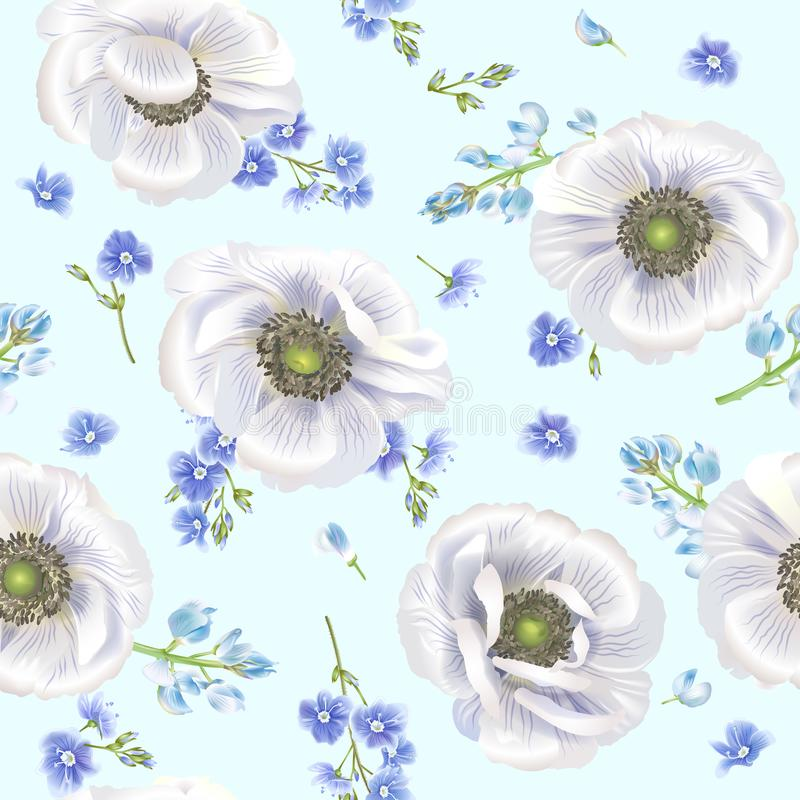 Blauw anemoonpatroon stock illustratie