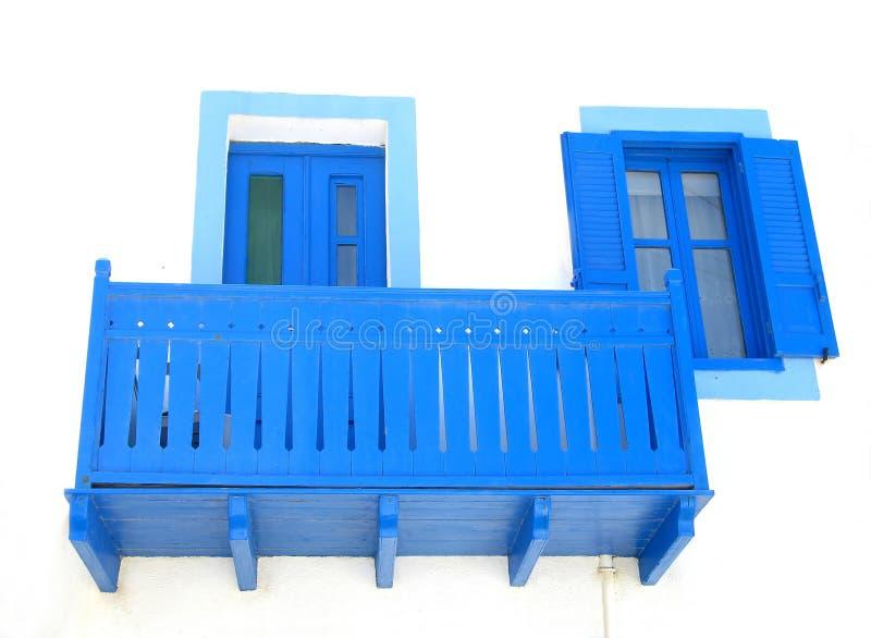 Blauw Balkon, Deur, en Venster stock afbeelding