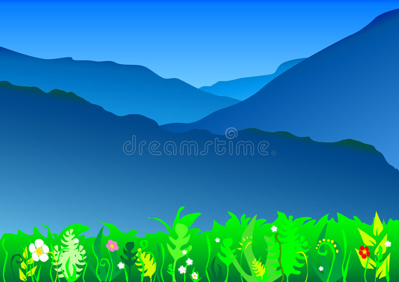 Blauw bergenlandschap stock illustratie