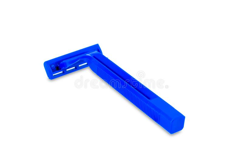 Blauw Beschikbaar die het scheren scheermes op wit wordt geïsoleerd royalty-vrije stock afbeeldingen