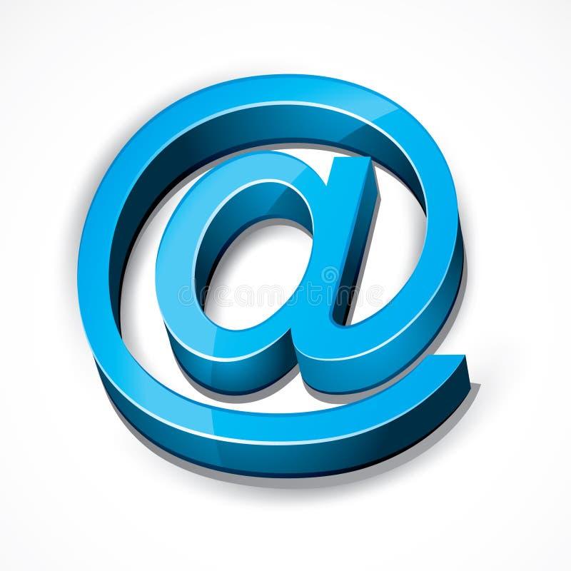 Blauw bij e-mailteken stock illustratie